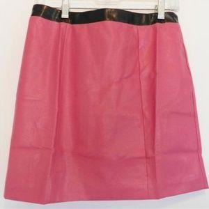 NWT Forever 21 Bright Pink Punk Vegan Zip Skirt